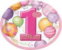 First Birthday Balloon Pink
