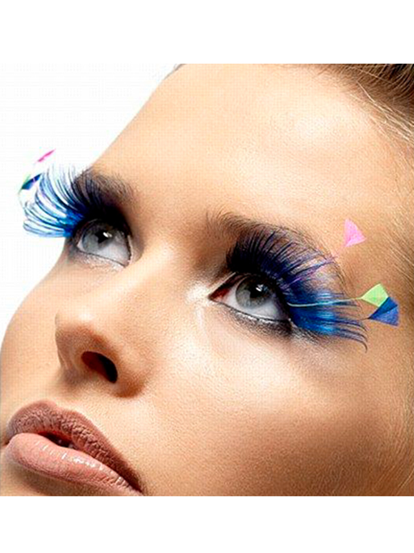 Feather Plume Eyelashes Blue And Neon Contains Glue Novelties