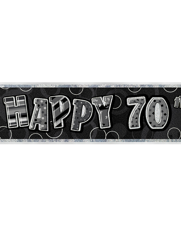 Birthday Glitz Black Silver 70th Prism Banner View Detailed Images 3