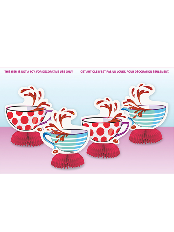 MAD HATTER TEA PARTY MINI HONEYCOMB DECORATIONS 4 Birthday Supplies Alice