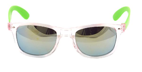 23fc9468f95 Clear Frame Wayfarer Style Glasses with Mirrored Lens and Green Arm. View  detailed images (1)