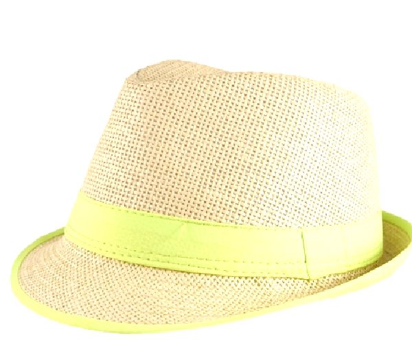 Straw Fedora Hat with Neon Green Trim   Party Supplies From ... d382bf4c06d
