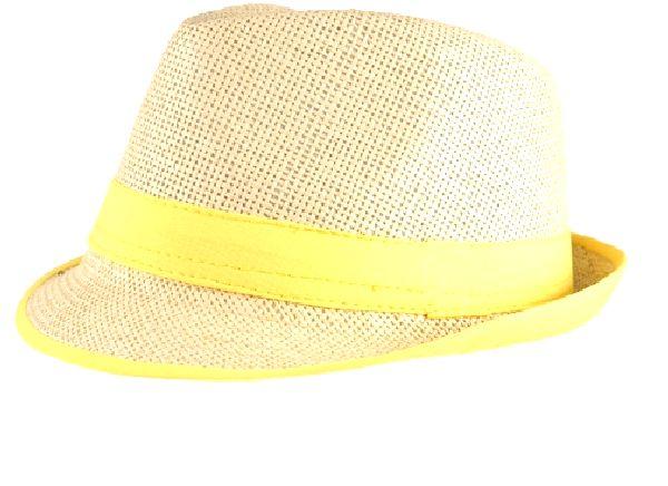 b282af1a4 Straw Fedora Hat with Neon Yellow Trim