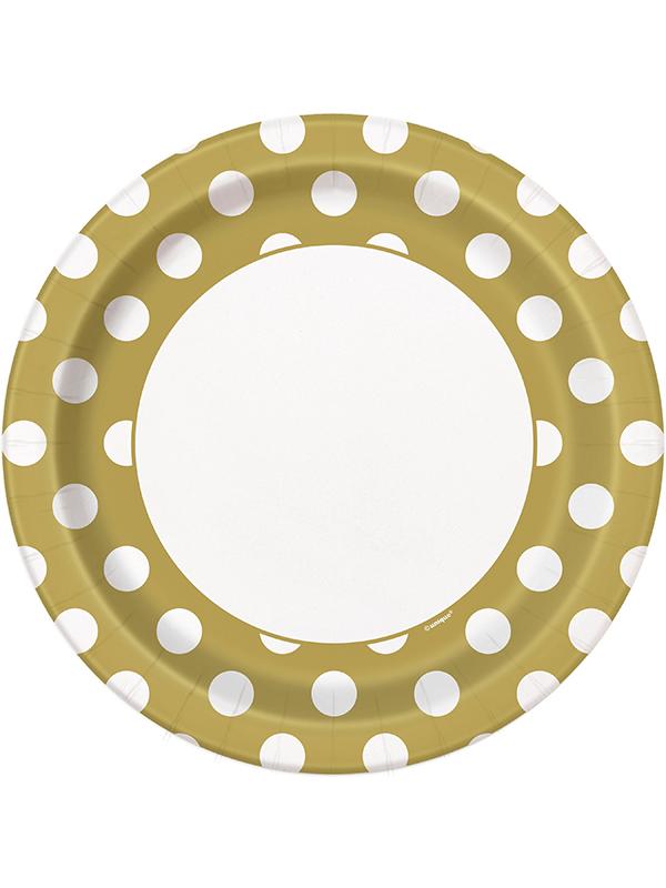 "Gold Dot Plates 9"""