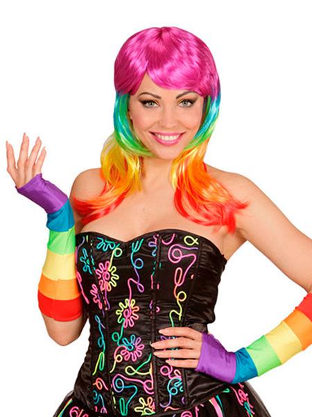 Rainbow Fingerless Satin Gloves