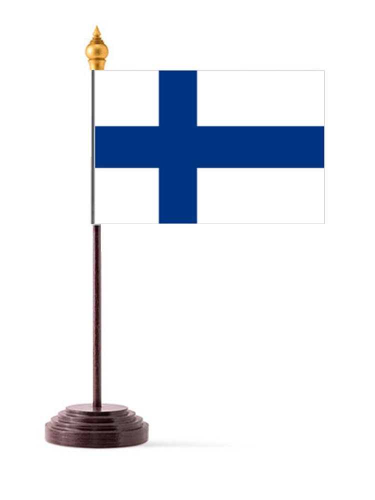 Finland Table Flag with Stick and Base
