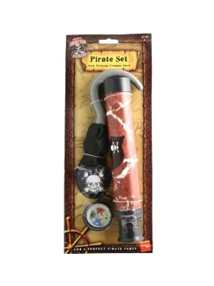 Pirate Set - Hook - Telescope - Compass - Patch  (Quantity 1)