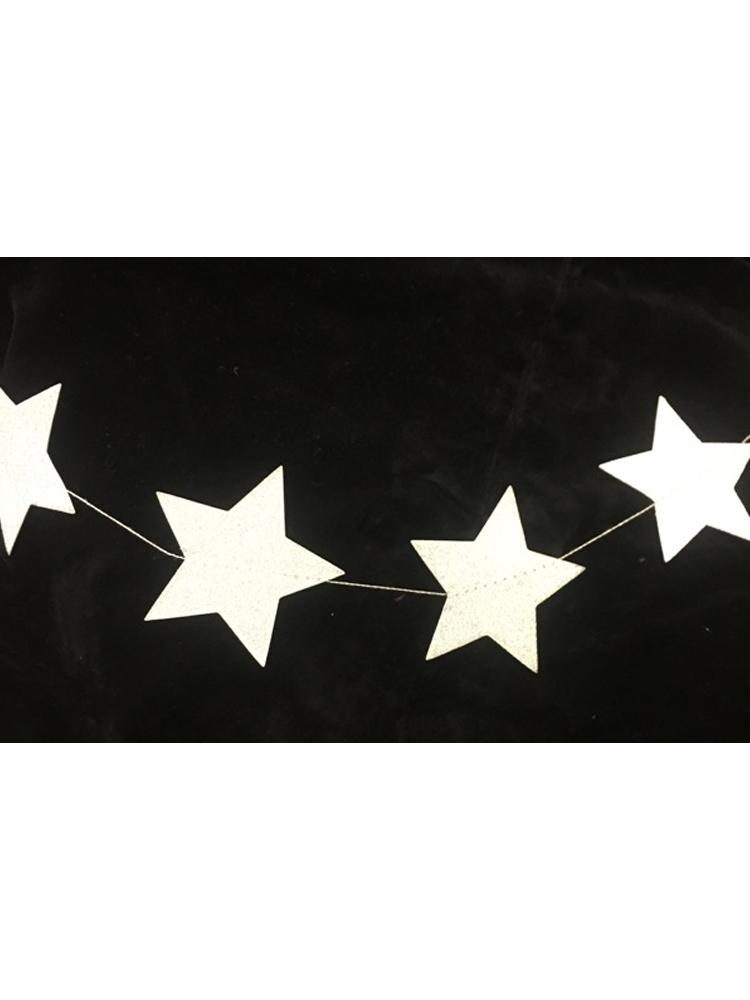 Silver Glittered Star Stringed Decoration