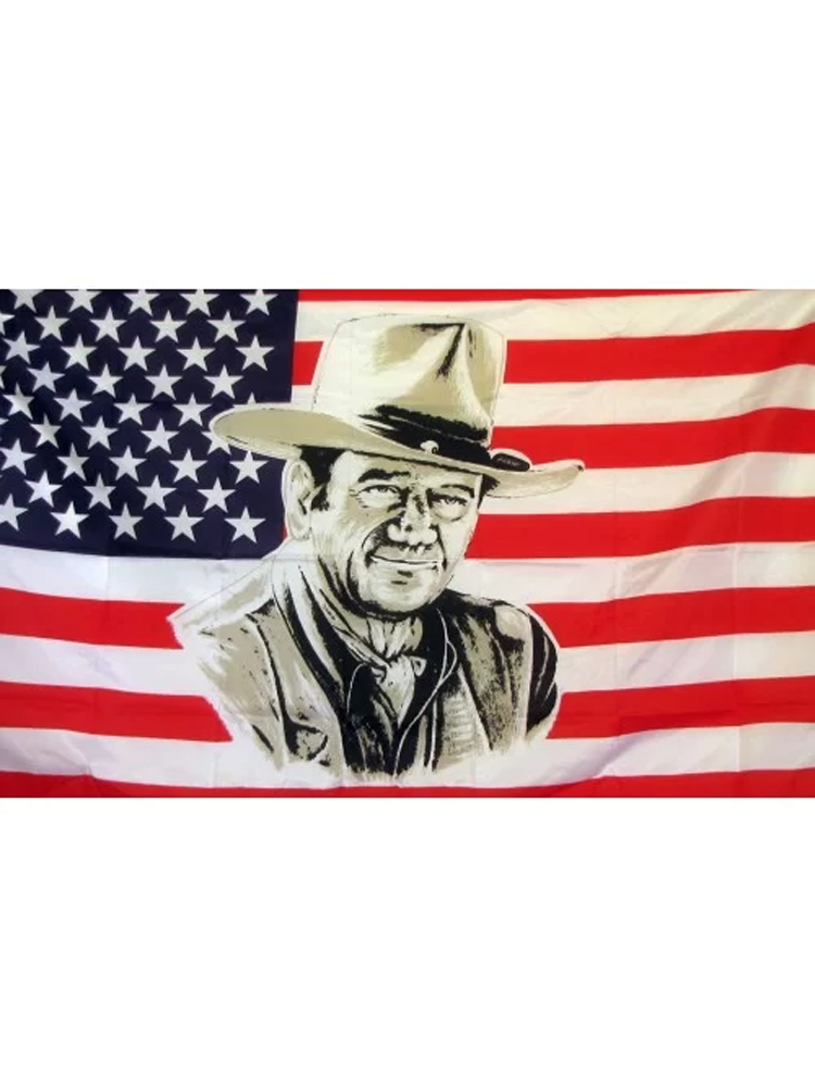 USA American 'John Wayne' Flag 5ft x 3ft (100% Polyester) With Eyelets For Hanging