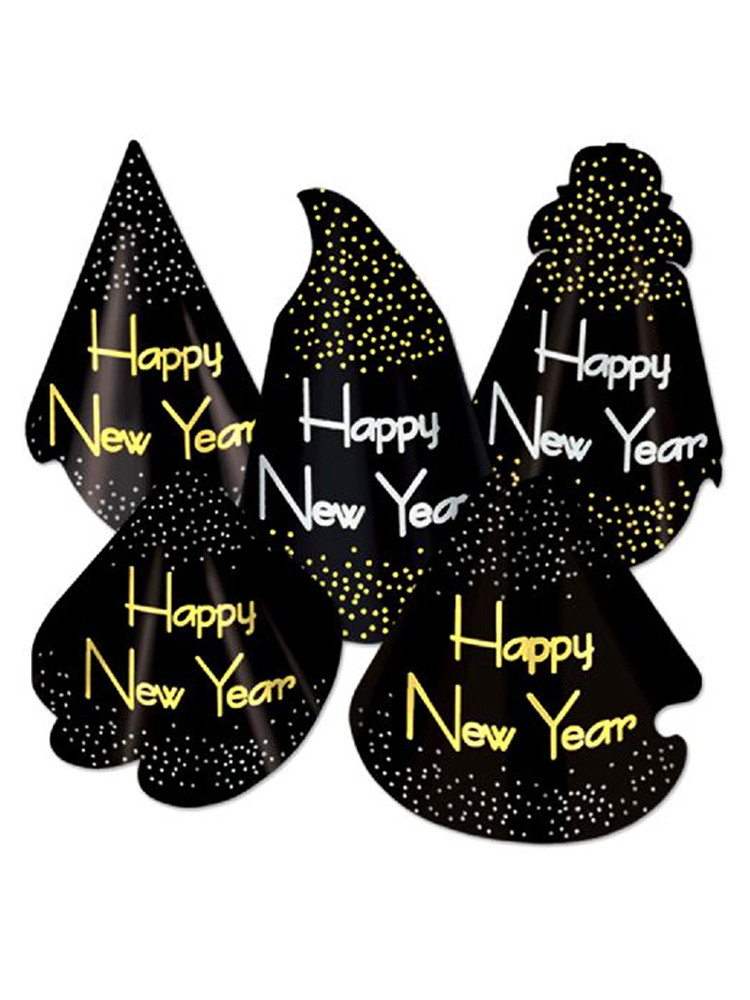 Midnight Assorted Cardboard New Year Hats (Qty 10)