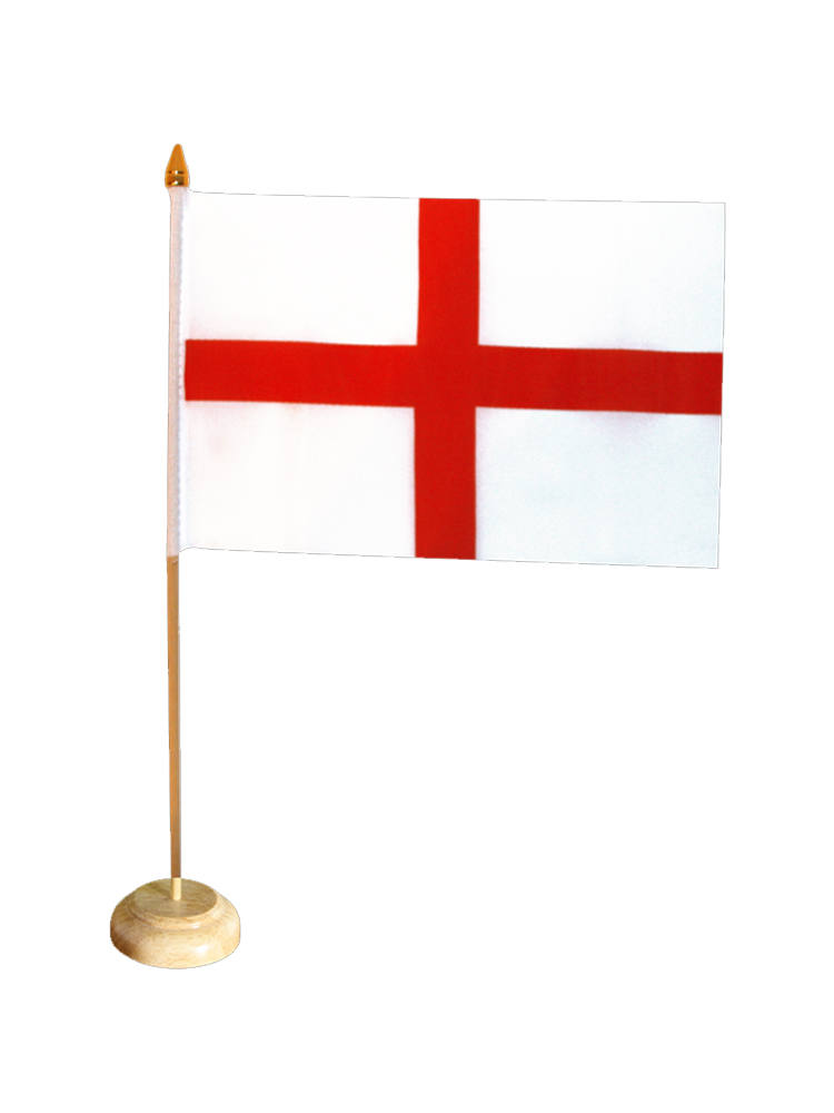 England Table Flag with Stick and Base