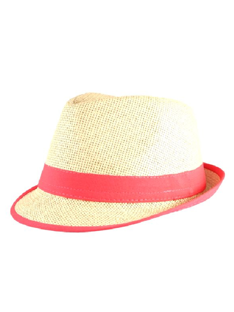 Straw Fedora Hat with Neon Pink Trim