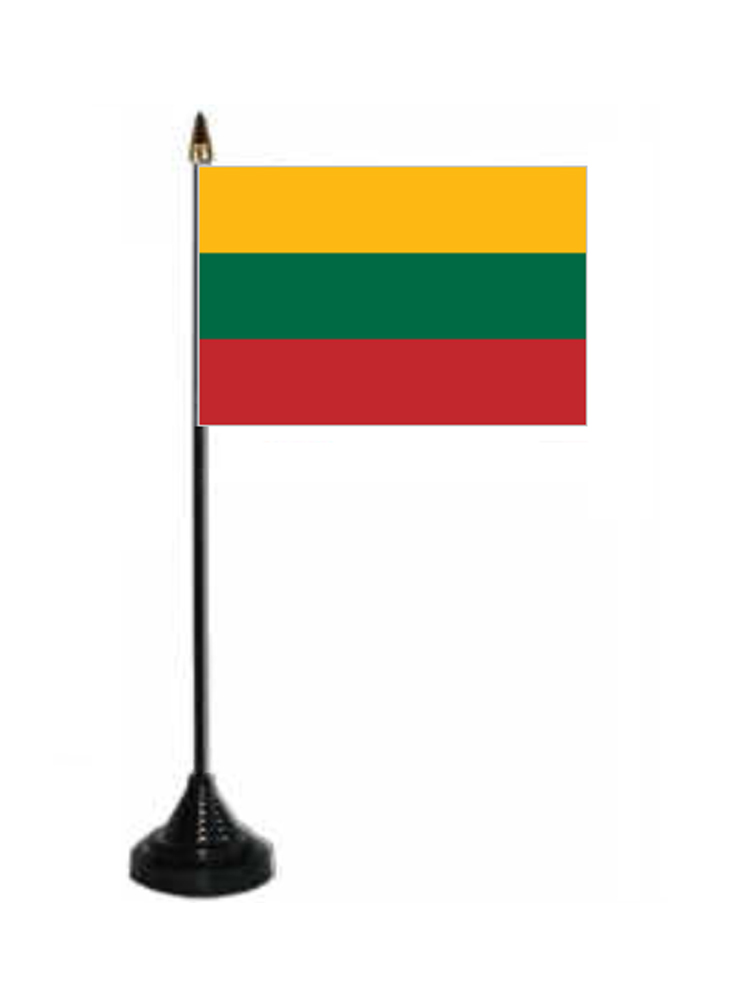 Lithuania Table Flag with Stick and Base