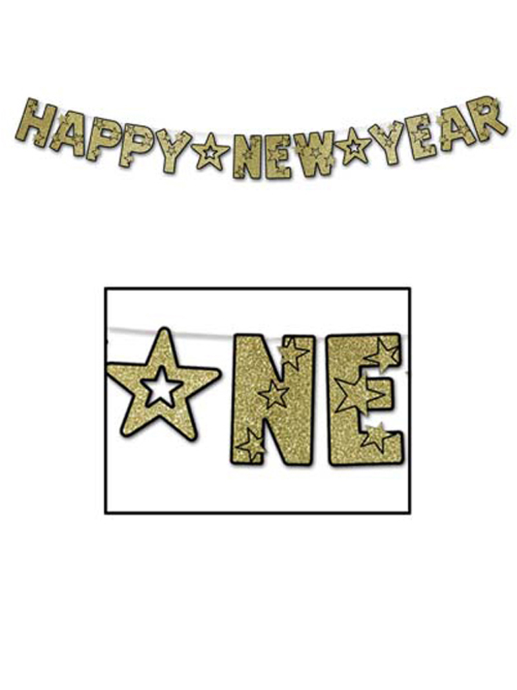 "Glittered Happy New Year Streamer 8½"" x 8' 6"""