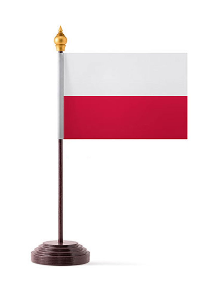 Poland Table Flag with Stick and Base