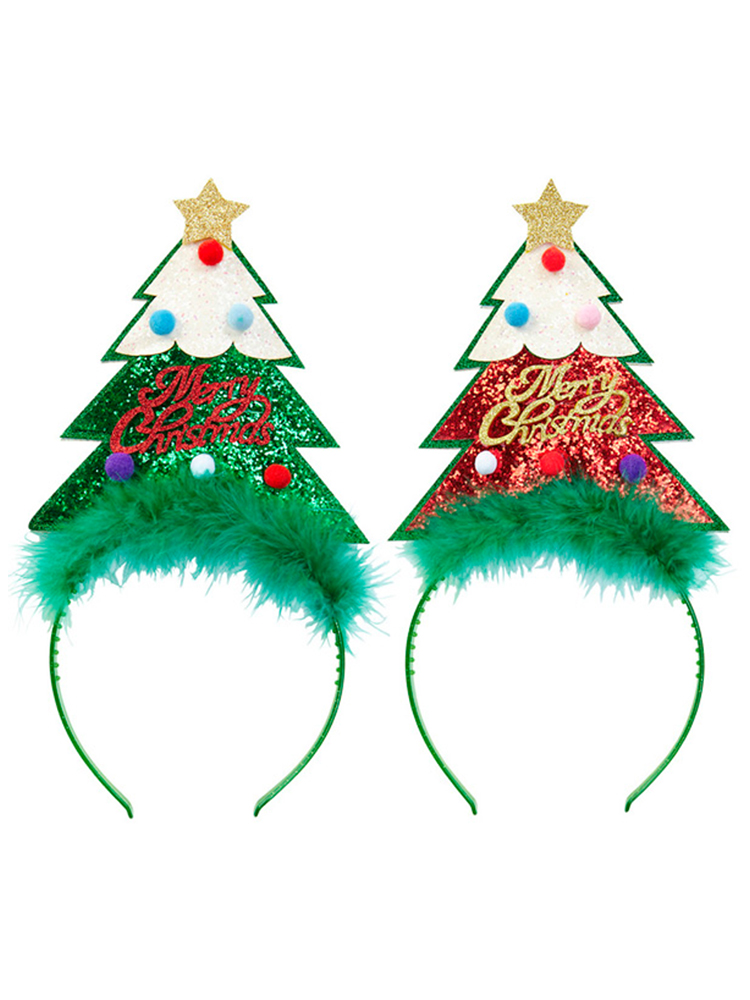 Glitter Christmas Tree Head Bopper - come in either Green or Red