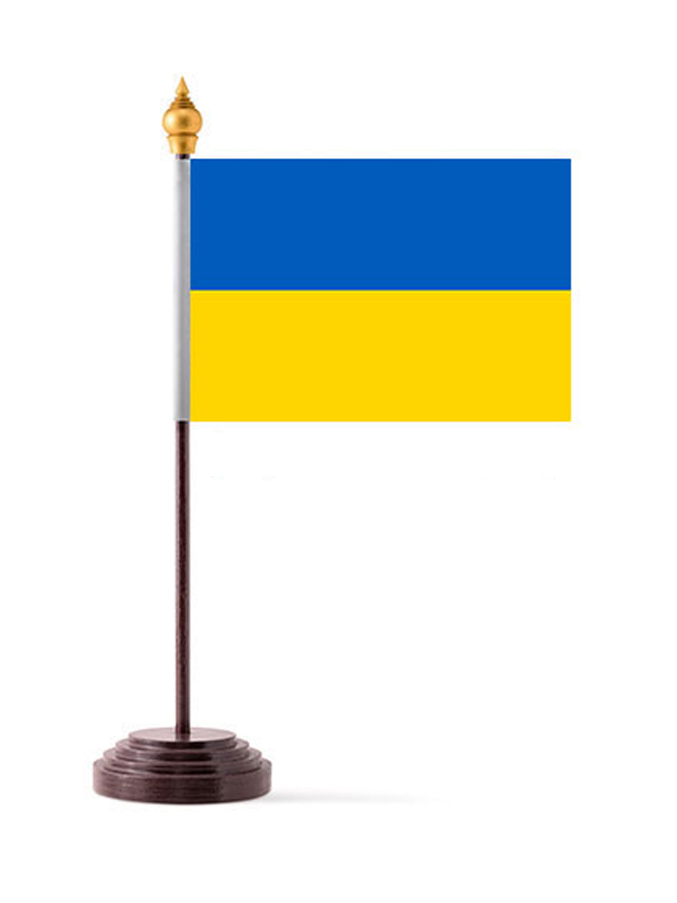 Ukraine Table Flag with Stick and Base