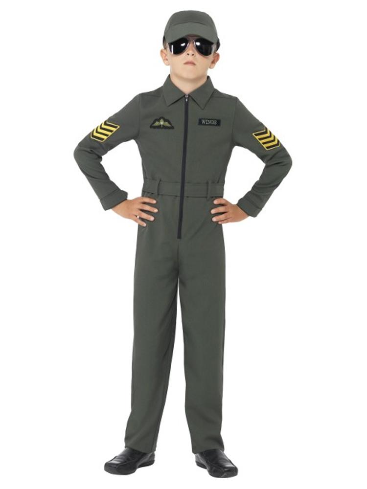 Aviator Costume, Khaki, Jumpsuit with Badges