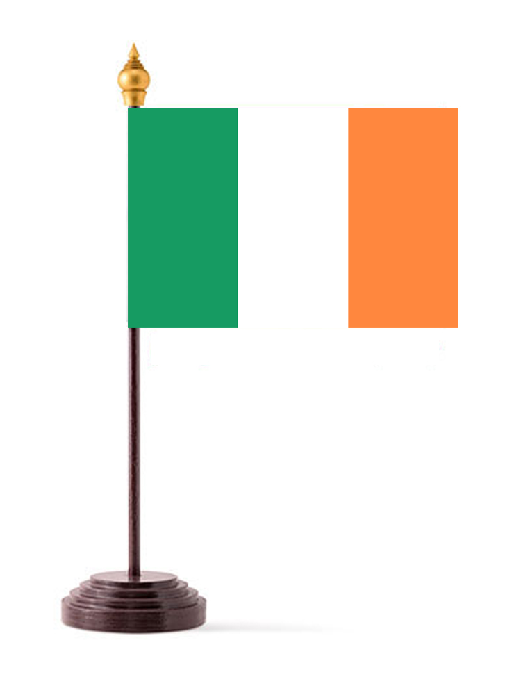 Republic of  Ireland Table Flag with Stick and Base