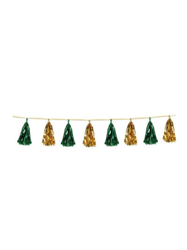 Gold and Green Metallic Tassel Garland