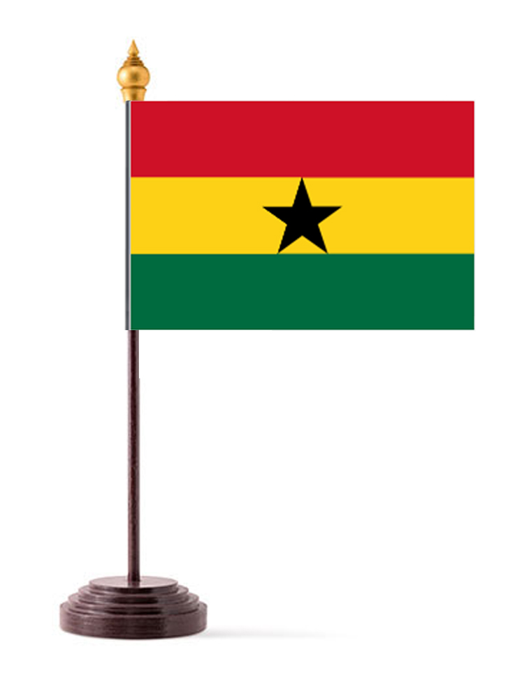 Ghana Table Flag with Stick and Base