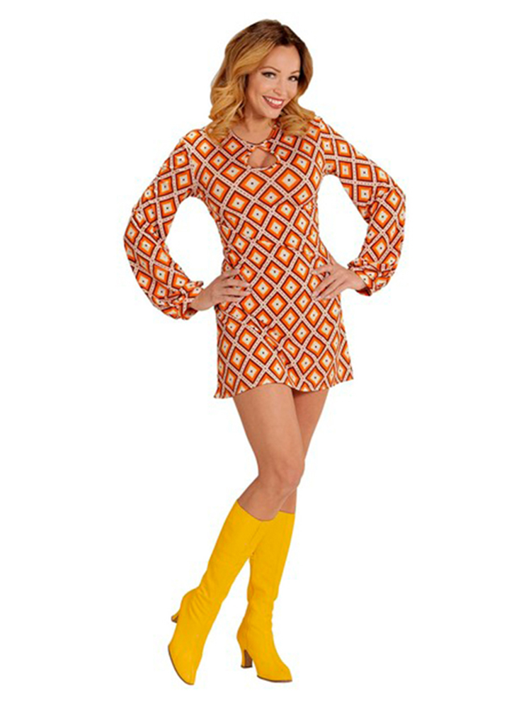 GROOVY 70'S LADY RETRO DRESS - RHOMBUS