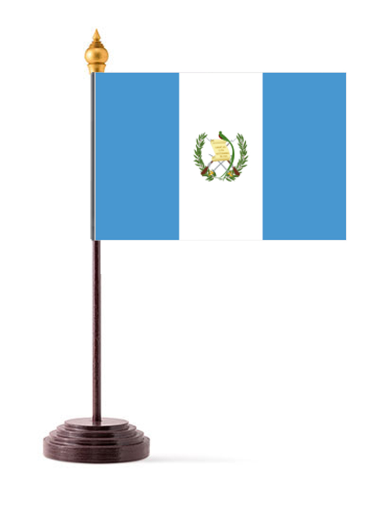 Guatemala Table Flag with Stick and Base