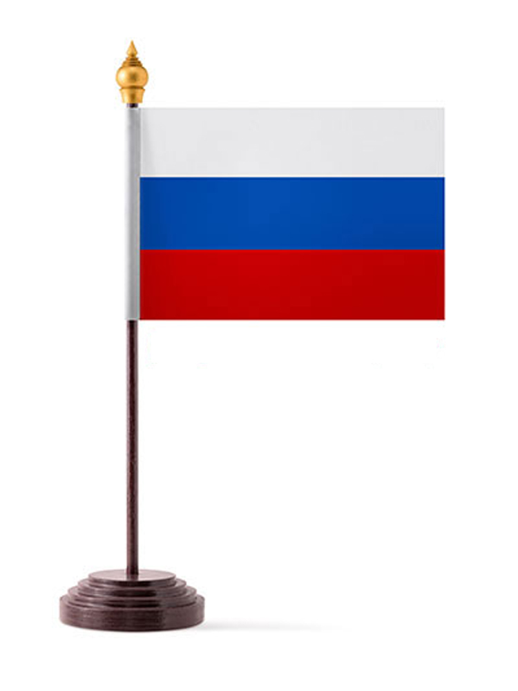 Russia Table Flag with Stick and Base