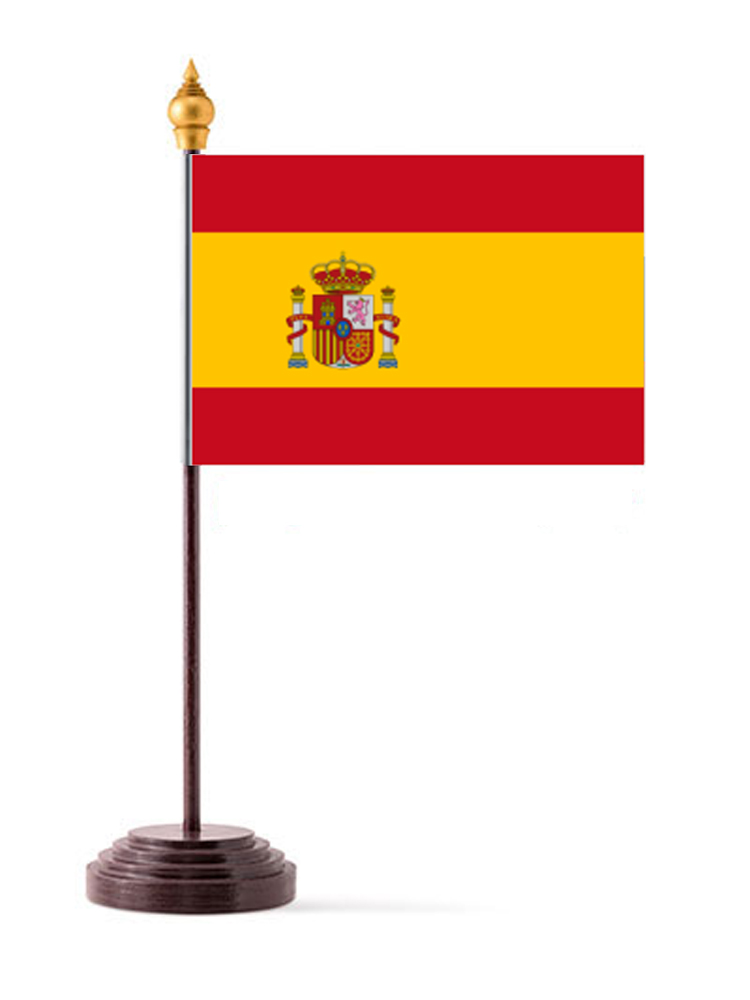 Spain Table Flag with Stick and Base
