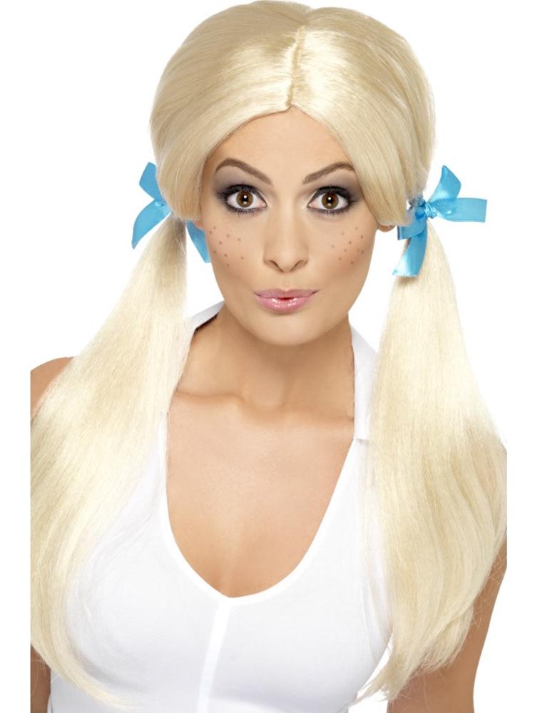 Sassy Schoolgirl Pigtails Wig,Blonde