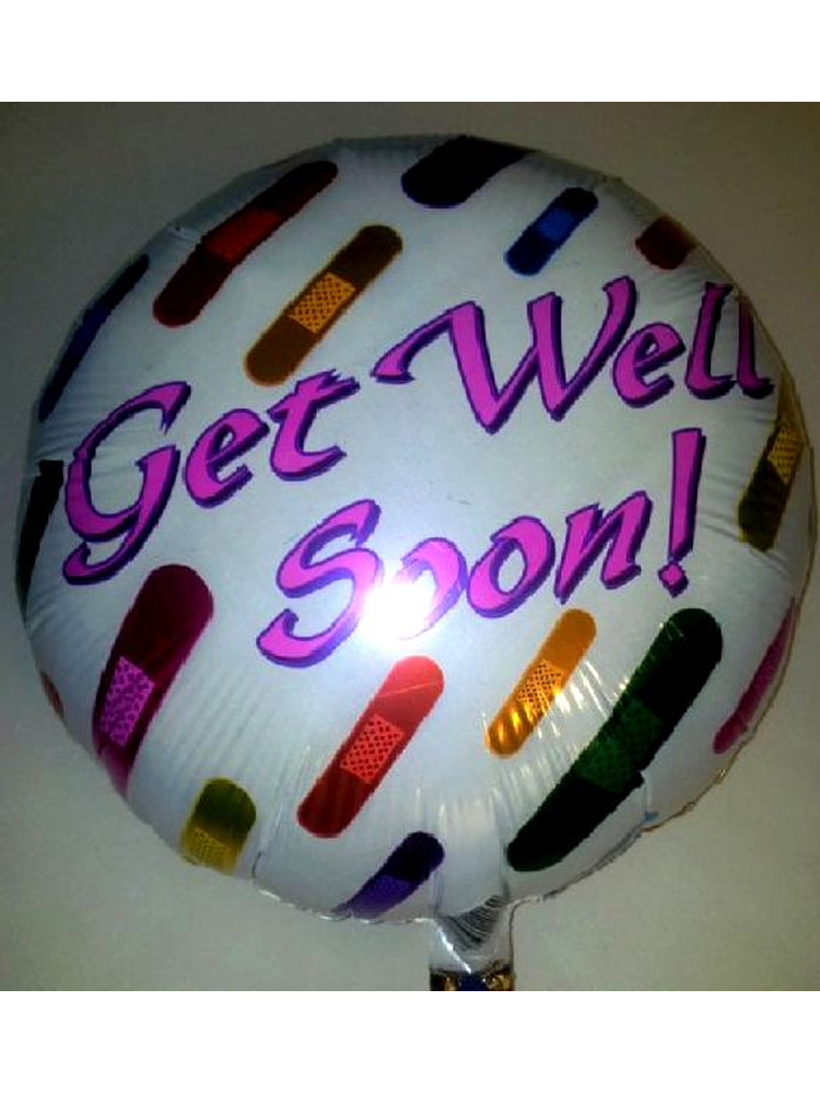 """Foil Balloon 'GET WELL SOON' Round Multi Coloured' 18"""""""