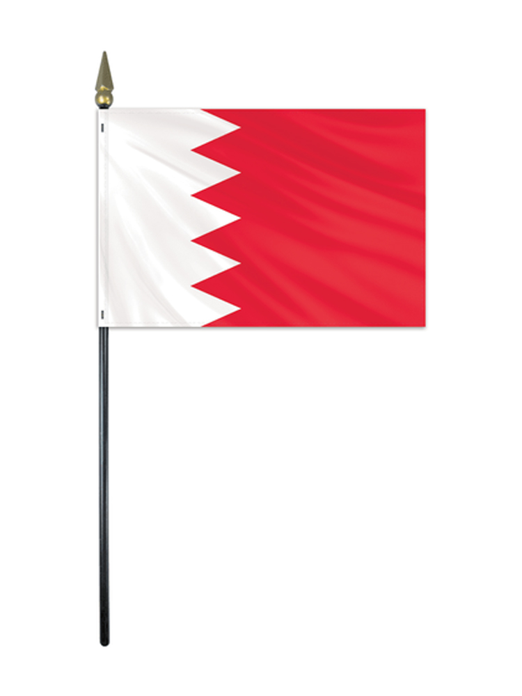 Bahrain Table Flag with Base and Stick