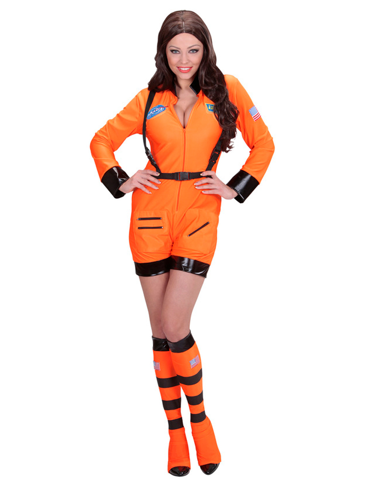 ORANGE ASTRONAUT LADY (jumpsuit boot covers)