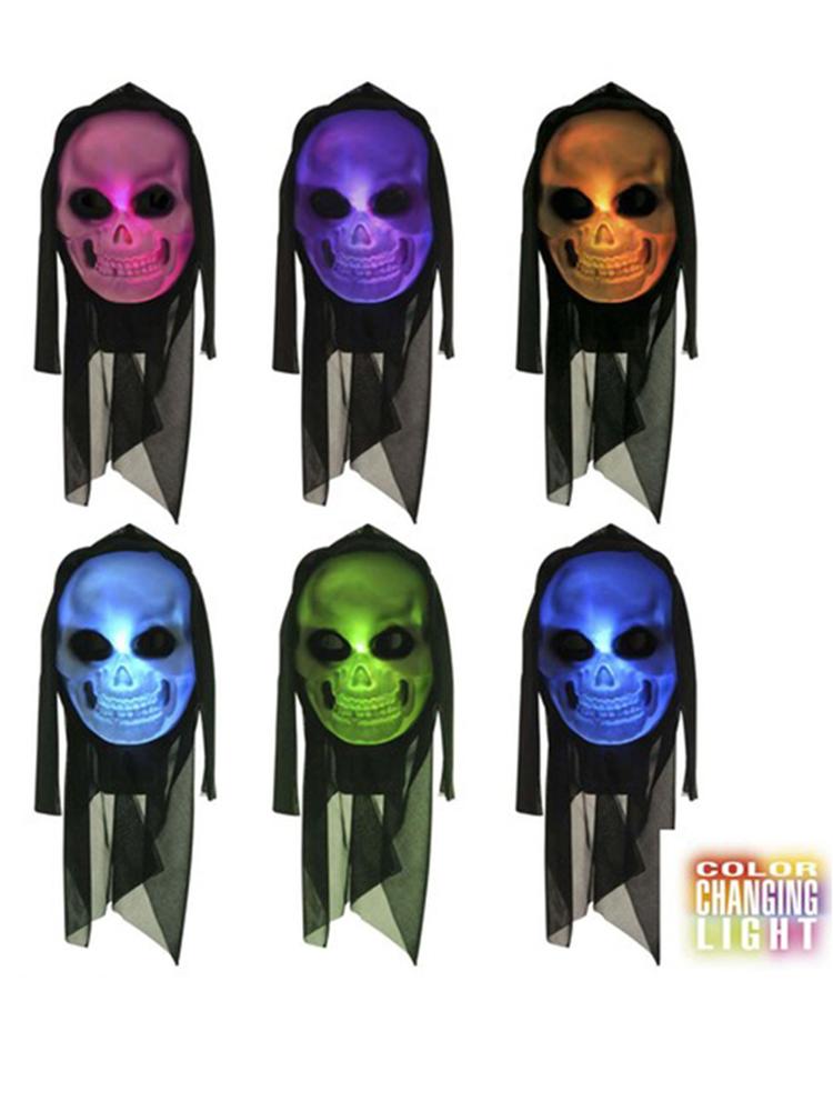 Hooded Skull Mask W/Multicolour Light