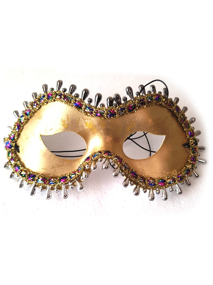 Gold Eyemask With Multi Coloured Trim And Silver Bead Surround (1)