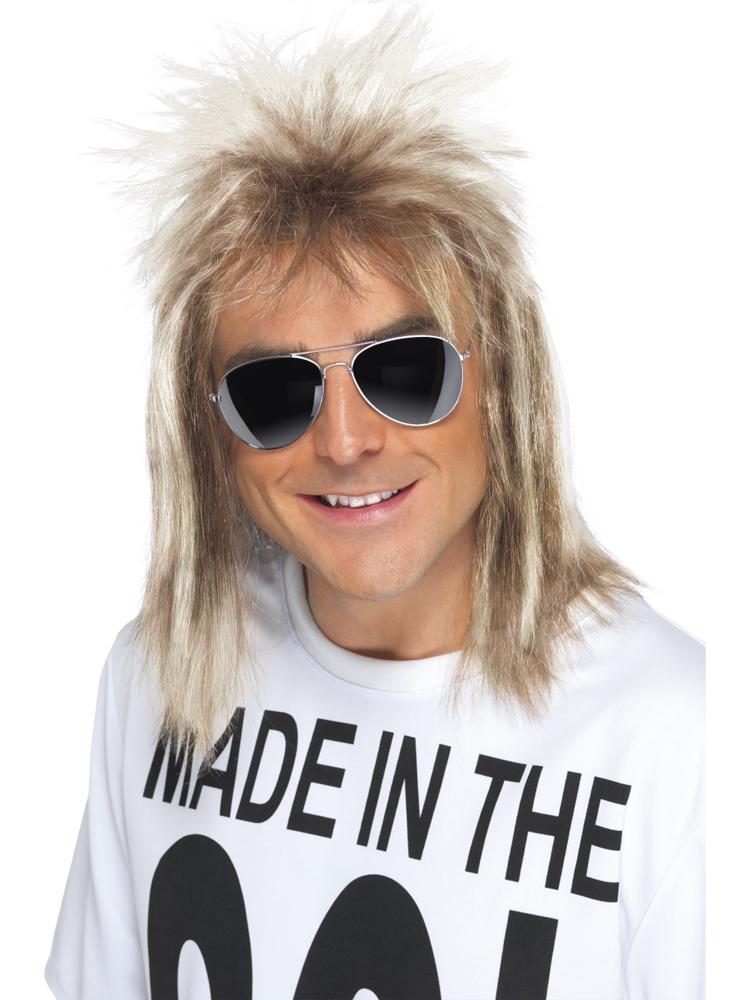 80'S Mullet Wig Ash Blonde