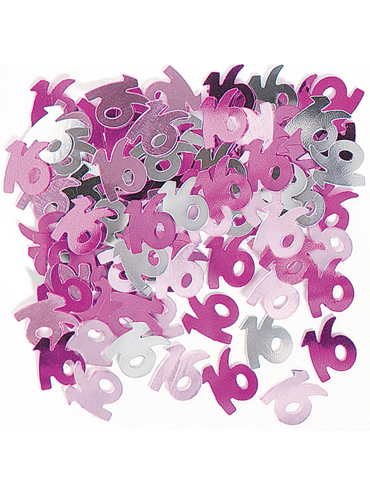 Birthday Glitz Pink - 16th Birthday Confetti