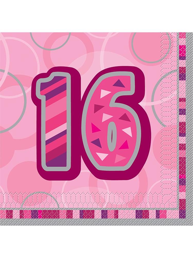 Birthday Glitz Pink - 16th Birthday - Luncheon Napkins