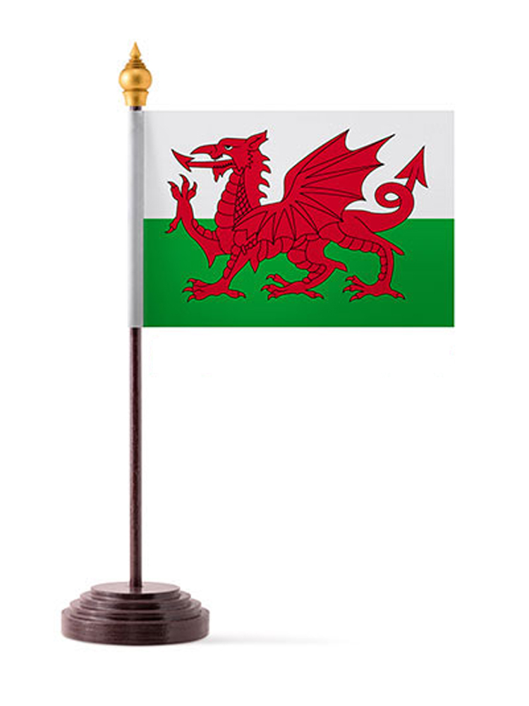 Wales Table Flag with Stick and Base