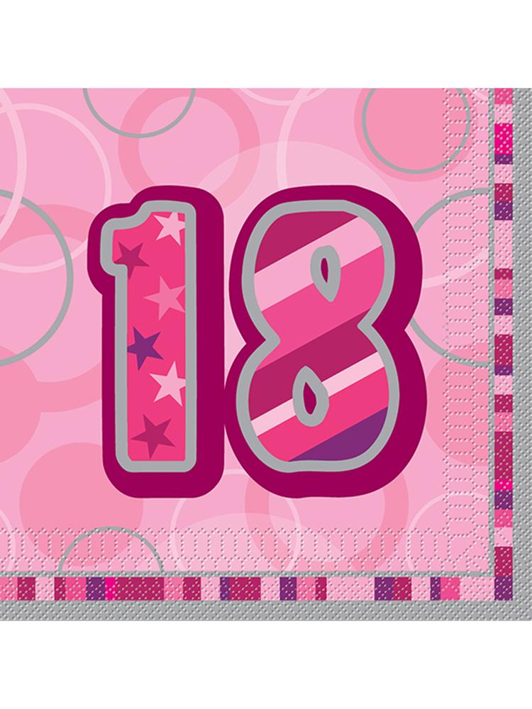 Birthday Glitz Pink - 18th Birthday - Luncheon Napkins