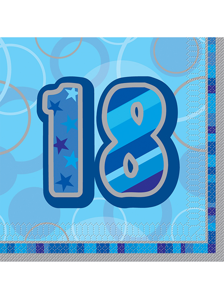 Birthday Glitz Blue - 18th Birthday - Luncheon Napkins