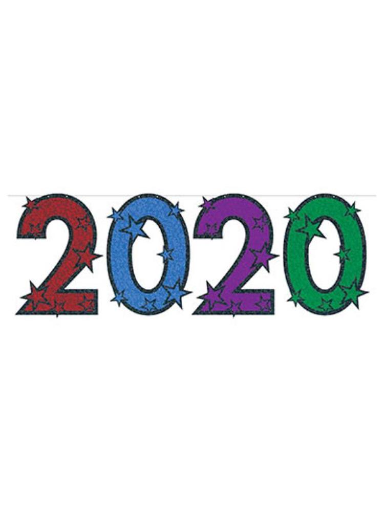 "2020 Glittered Streamer 15"" x 6'"