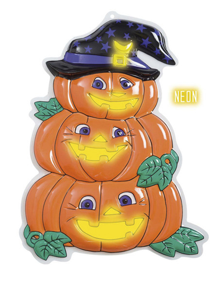 3D Neon Pumpkin Trio With Hat
