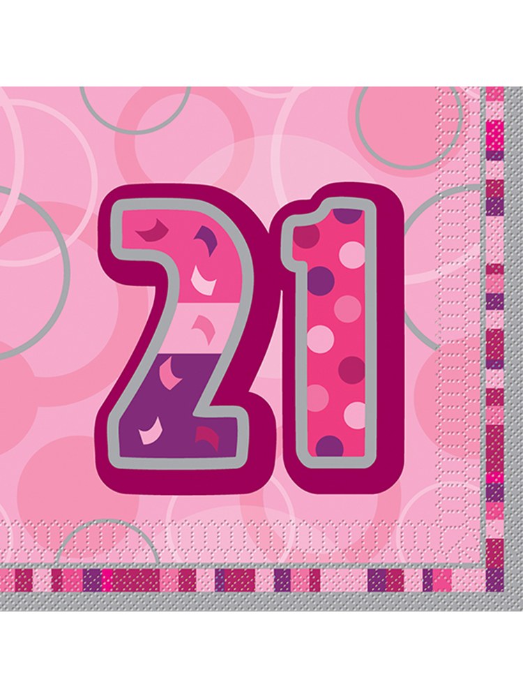 Birthday Glitz Pink - 21th Birthday - Luncheon Napkins