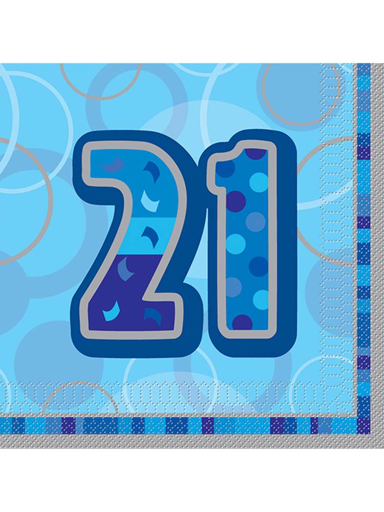 Birthday Glitz Blue - 21st Birthday - Luncheon Napkins