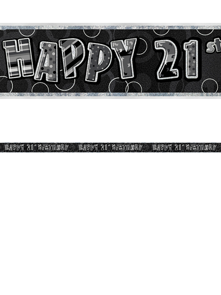 Birthday Glitz Black & Silver 21st Birthday Prism Banner