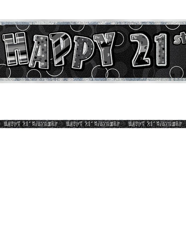 Birthday Glitz Black & Silver 21st Birthday Prism Banner