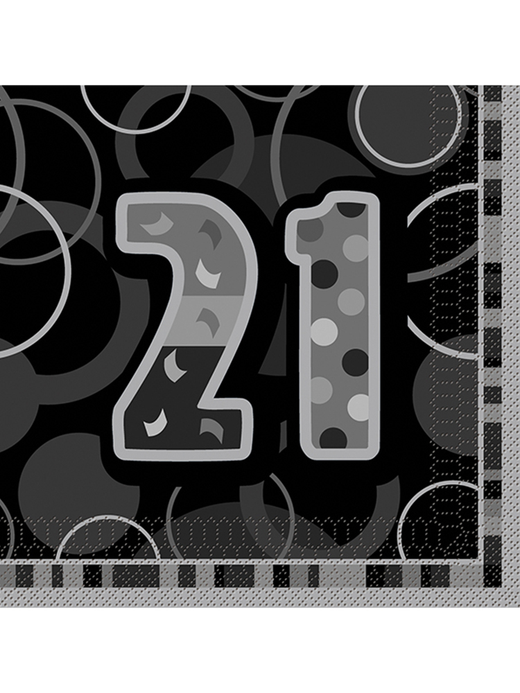 Birthday Glitz Black & Silver 21st Birthday - Luncheon Napkins