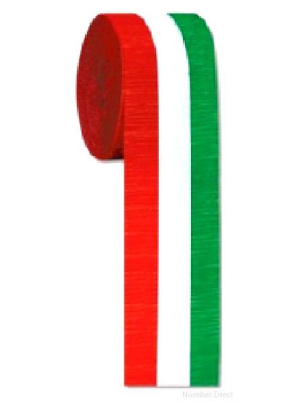 Red, White & Green Crepe Streamer