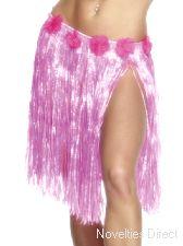Hawaiian Hula Skirt, Neon Pink with Flowers